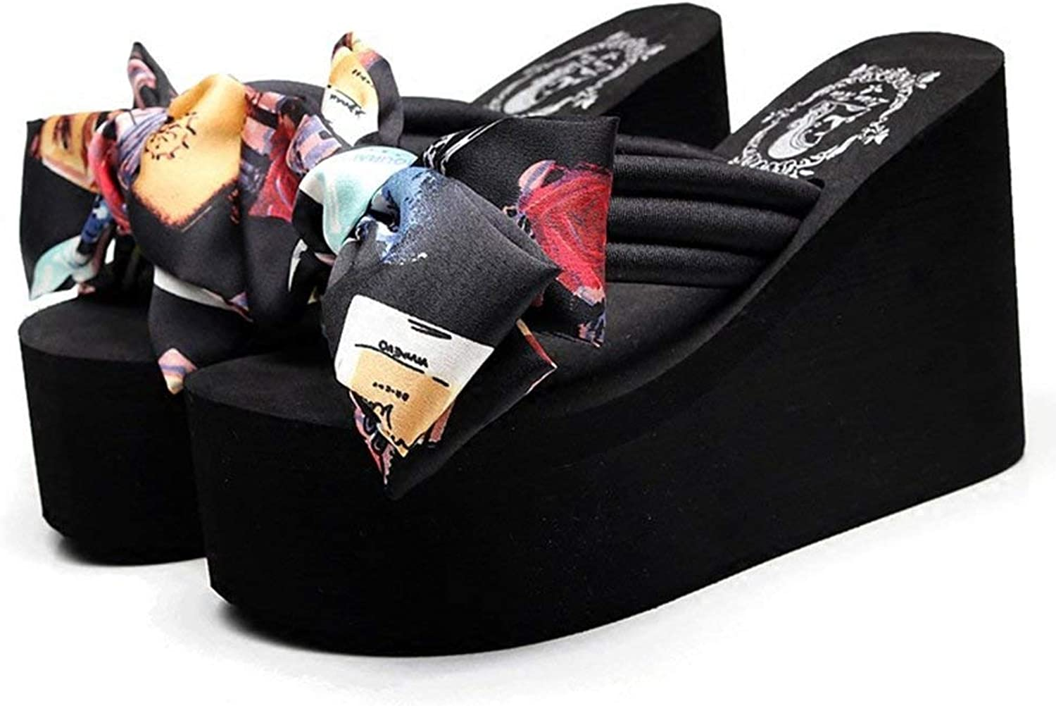 Wallhewb Womens Ladies Girls Bow Tie Sandals Fashion Handmade Flower Wedge Flip Flops Non Skid Outdoor Slippers Reasing Girl Leg Length Girl Rubber Sole Leg Length Black 7 M US Slipper shoes