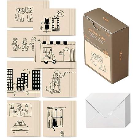 モノライク メッセージカード ミニカード モノキャット Message card Monocat - 40枚封筒20枚セットミニサイズデザイン文具お祝いのカード感謝カード