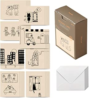 Monolike message card Monocat - mix 40 cards, 20 envelopes pack, emotional and sophisticated mini cards