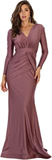 May Queen MQ1530 Long Sleeve Simple Evening Prom Dress