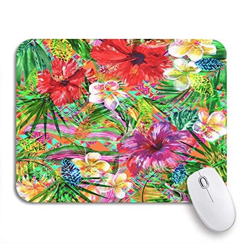 Gaming mouse pad abstrakte blumenmuster tropische blumen und pflanzen frangipani hibiscus rutschfeste gummiunterlage computer mousepad für notebooks mausmatten