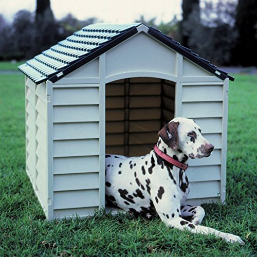 HOMEGARDEN Cuccia per Cani in PVC per Esterno Colore Grigio Chiaro con Tetto Verde