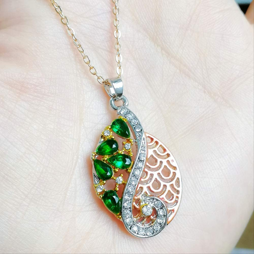 Women's Fashion Vintage Pendant Necklace Earring Ring Retro Jewelry Set Green Zircon Crystal Love Bridal Jewelry Sets