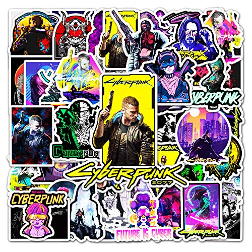 YOUKU Cyberpunk 2077 Pegatina de Graffiti de Dibujos Animados para Ordenador portátil, Equipaje, Scooter, Pegatina Decorativa, 50 Piezas
