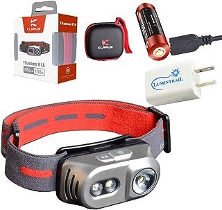 Klarus H1A Rechargeable Headlamp 550 Lumen LED Light Battery Included (Titanium) Bundle with a Lumintrail USB Wall Plug