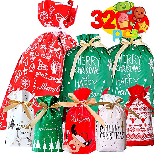 Funnlot Christmas Drawstring Bags 32PCS in 7 Styles Christmas Wrapping Bags Xmas Treats Bags Christmas Party Favor Pouch Goody Sweet Treat Candy Bags with Ribbon Ties