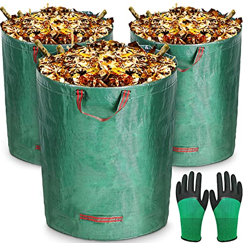 MOOING 3 Bolsas de Basura de jardín Professional de 300 L,Tejido de Polipropileno (PP) Robusto,Gran Capacidad,Plegable, Resistente a la Corrosión y al Daño,con Asas,Incluye Guantes Protectores