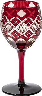 江戸切子 四ツ葉に矢来魚子紋 ワイングラス(琥珀赤)TB94408AR 木箱入り 太武朗工房直販 日本製