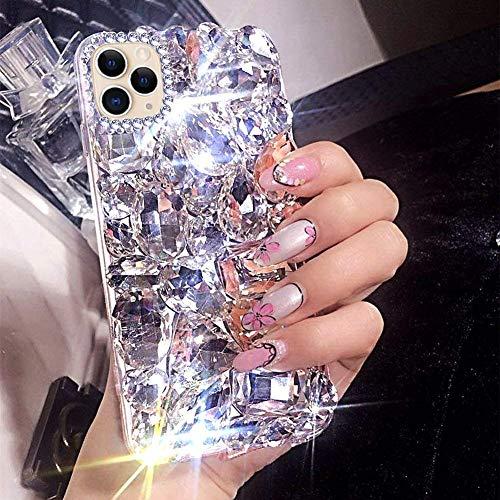 für Samsung Galaxy S20 Hülle Glitzer,Glänzend Diamant Bling Strass Handyhülle TPU Silikon Hülle Kristall Diamant Mädchen Handy Schutzhülle Stoßfest TPU Silikon Tasche für Galaxy S20,Weiß