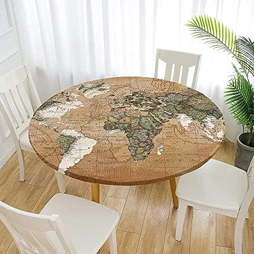 Fansu Impermeable Redondo Mantel con Borde Elástico, 3D Impresión Mantel de Mesa Elástica Ajustada Cubierta de Mesa para Picnic Comedor Cocina Restaurante Cena (Marrón Claro,Diámetro 90cm)