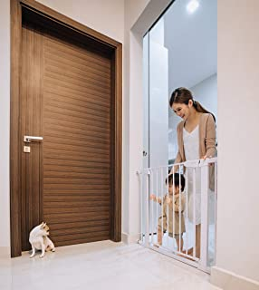 Aksel Baby Classic White Easy Close Metal Baby Pets Safety Gate