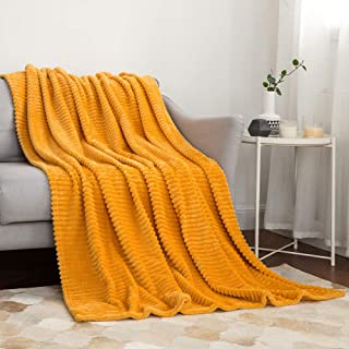 MIULEE Fluffy Throw Blanket Soft Fleece Stripes Pattern Blanket Lightweight Breathable Sofa Blankets for Relax Napping Sle...