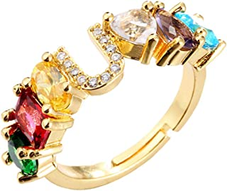 cmoonry Fashion Colourful Crystal Ring Unique Design 18K Gold Plated 26 Alphabet Letter Open Ring Adjustable Women Name We...