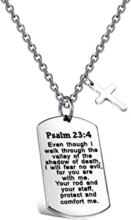 FUSTMW Psalm 23:4 Bible Verse Dog Tag Keyring/Necklace Christian Jewelry Religious Inspirational Gift