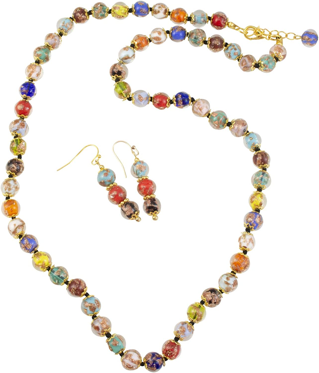 Genuine Venice Murano Sommerso Aventurina Glass Bead Long Strand Necklace and Earrings Set, Multi-Color