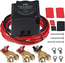 WATERWICH Dual Battery Isolator Kit Marine Car UTV 12V 140A Voltage Sensitive Relay Battery Isolator Wiring Cable Kit Smart Auxiliary System for ATV Boat Ship Camper Trailer SUV Van Truck