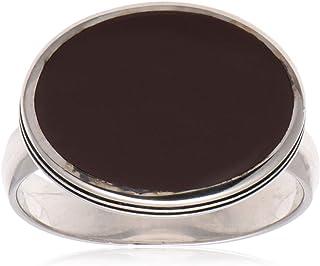 خاتم ملكي من الفضة الاسترليني مع حجر بني للرجال من عتيق