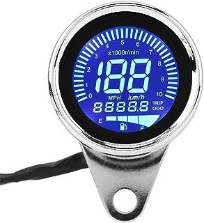 Suuonee Digital Speedometer,  Universal Motorcycle Digital LED LCD Speedometer Tachometer Speed Gauge Retro Chrome