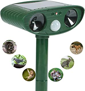 KAOXIYU Ultrasonic Animal Repeller,Solar Ultrasonic Electronic Animal Pest Repellent,With Flash Light and Warning Sound Effective Outdoor Waterproof Farm Garden Yard Use,expel Dogs,Cats,Skunks,Rod,etc