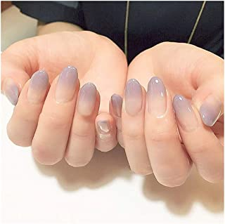 Drecode 24Pcs Fake Nails Purple White Gradient Acrylic Full Cover False Nails Fashion Party Clip on Nails for Women and Girls