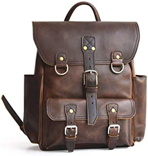 Mens Leather Bag Mens Leather Laptop Daily Carry Backpack School Backpack Vintage Leather Backpack, Travel Backpack Fashion Shopping Bag (Color : Brown, Size : S)