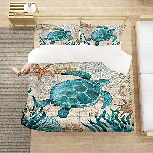 Bedclothes-Blanket Cubierta de la Colcha de Cama Cubierta de la Colcha de impresión 3D (con la Abertura y Cierre de la Cremallera), 3 Piezas (1 Cubierta de colchas + 2 pillowcasas)-3_220 * 260cm