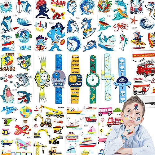 Tattoo Kinder,Jusduit Shark Tattoos Set 14 Blätter Uhr Shark Fahrzeuge Flugzeug Fähre Wasserdichte Kindertattoo Temporäre Tattoos Kinder Aufkleber für Mädchen Jungs Kindergeburtstag Mitgebsel Party
