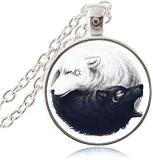 Ying Yang Necklace Black and White Wolf Pendant Sun and Moon Fashion Jewelry Tai Chi Animal Jewellery