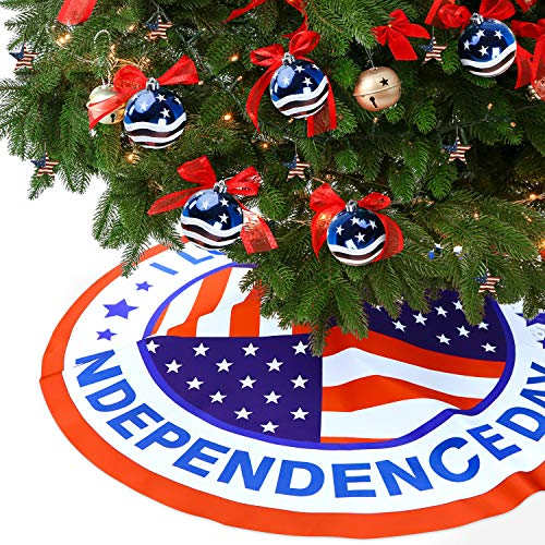 R HORSE Independence Tree Skirt 36inch, USA Flag 4th of July Decorations Patriotic Stars for American Independence, Day Christmas Tree Skirts Patriotic Ornaments for Tree