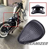 DREAMIZER Motorcycle Crocodile Style Leather Saddle Solo Seat Cushion Spring Compatible with Shadow Chopper Bobber Custom Dyna Spirit ACE VT 1100 750 Sportster XL883 XL1200,Black