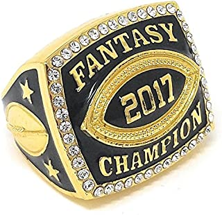 Decade Awards 2017 Fantasy Football Champion Ring with Rhinestone Border | Heavy FFL League Champ Ring with Stand (Gold or Silver Tone)