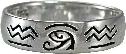 Sterling Silver Eye of Horus Ra Udjat Egyptian Ring (Size 4-15)
