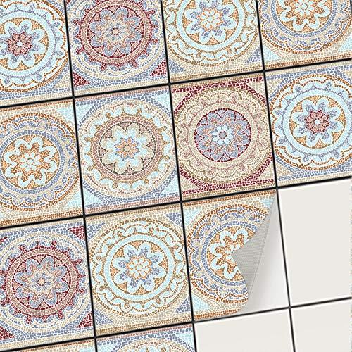 creatisto Mosaik-Fliesen Fliesenaufkleber Fliesenfolie - Klebe Folie für Wandfliesen I Klebefliesen Deko Folie für Fliesen in Küche u. Bad/Badezimmer (15x20 cm I 6 -Teilig)