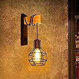 Goeco Lámpara de pared , Aplique Pared retro, Lámpara retro de decoración de pasillo restaurante E27, negro (sin bombilla)