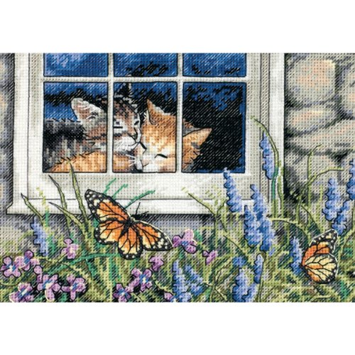 Dimensions Gold Collection Counted Cross Stitch Kit, Feline Love, 18 Count Ivory...