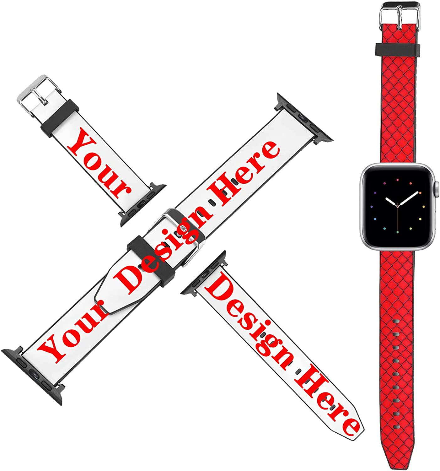 Custom Watch Bands Compatible with Apple Watch 38mm 40mm 42mm 44mm, Personalized PU Leather Stape Replacement Wristband for iWatch Series 6/5/4/3/2/1