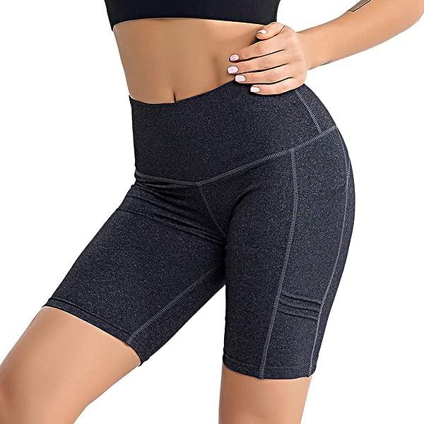 Wodceeke Women S Soild High Waist Tummy Control Workout Shorts Pocket Fitness Sports Yoga Pants Bike Shorts