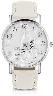 Sonew Reloj de Cuarzo de Las Mujeres Reloj de Pulsera analógico Femenino Redondo Correa de Cuero de la PU Reloj de diseño ...