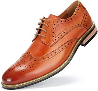 Leather Wingtip Dress Shoes for Men Business Casual Shoes, Brogue Formal Shoes, Lace-up Oxford Shoes