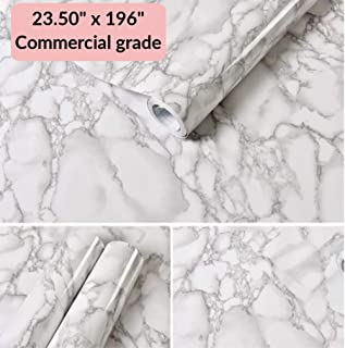 White Marble Commercial Grade Contact Paper Self Adhesive Removable 24