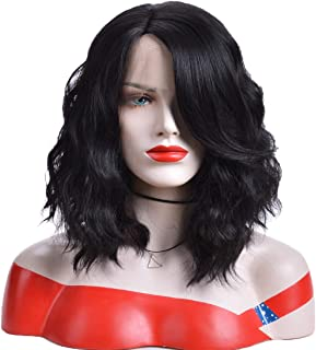 GNIMEGIL 15 inch 1b Black Hair Synthetic Lace Front Wig Natural Wave Wigs with Bangs Swiss Lace Wigs Similar Like Human Hair