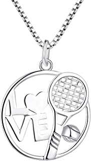 Tennis Racket Necklace 925 Sterling Silver Racquet...