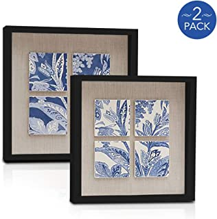 8x8 Inch Black Shadow Box Picture Frames - Deep Photo Frame for Wall or Standing Glass Display Case - Create Collage of Ar...