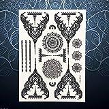6 Piezas Mujeres Calientes Cuerpo Arte Negro Henna Tatuaje Flor Colgante Gargantilla Joyería Pegatina 20X15 Cm Impermeable Temporal Falso Tatuaje Pegatina