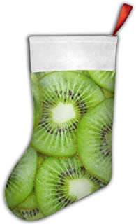 Leisue Green Kiwi Fruit Pattern Christmas Stockings Sock Decoration for Holiday