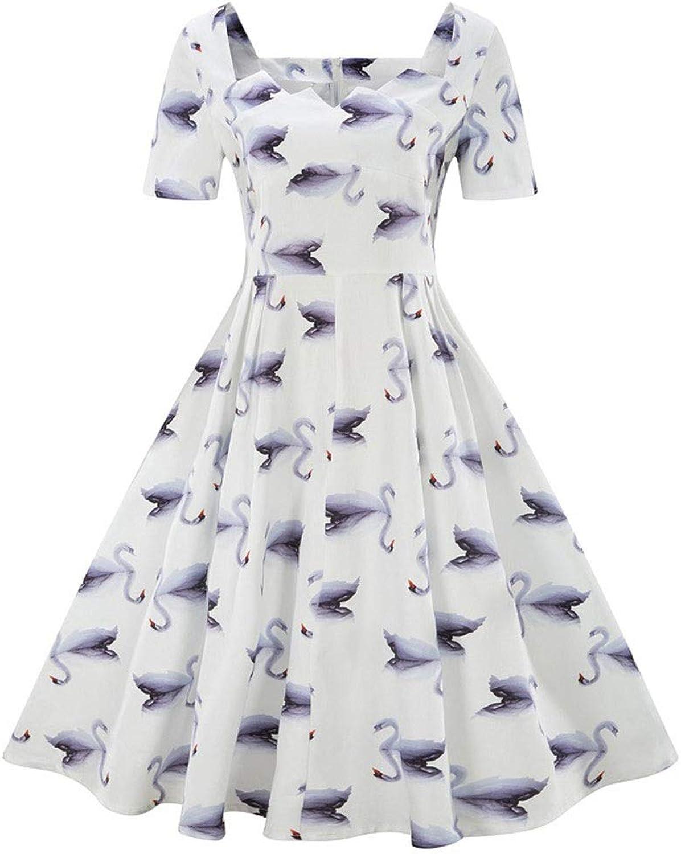 Sylviaan YY6 Women's Short Sleeve Floral Swing Dress 1950s Rockabilly Dress
