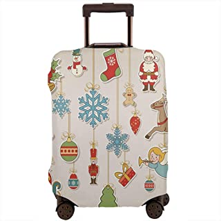 Travel Luggage Cover,Noel Xmas Winter Holiday Icons Celebratory Objects Retro Graphic Style Suitcase Protector