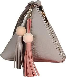 Girls Fashion Clutch Purse Wallet Triangle Wristlet Purse PU Leather Women's Bag (White)