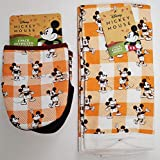 Disney Harvest Mickey Mouse Two Pack of Kitchen Towels & Two Pack Oversized Mini Mitts - Orange Accents