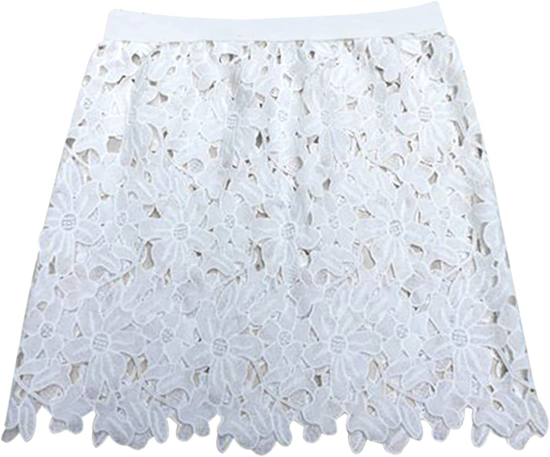 Ruoshi Women Ladies High Waist White/Black Base Skirt Lace A-Line Skirt Hip Skirt For Winter